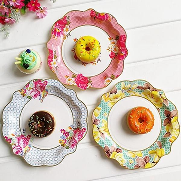 Plates, paperplate, disposabletablewareset, petaldesignplate