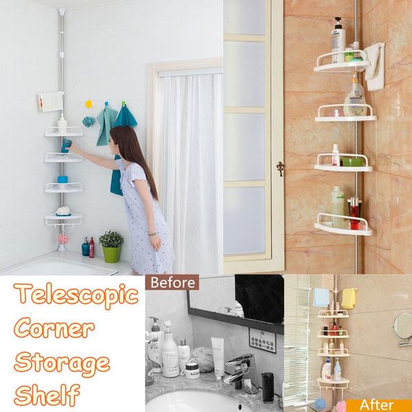 4 Tier Bathroom Telescopic Corner Shower Shelf Caddy Pole Wall Rack Storage Organizer Soap Holder Wish