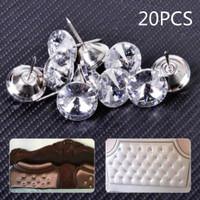 20pcs 20mm Crystal Upholstery Decoration Nails Tacks Studs Pins Dia Sofa Wall