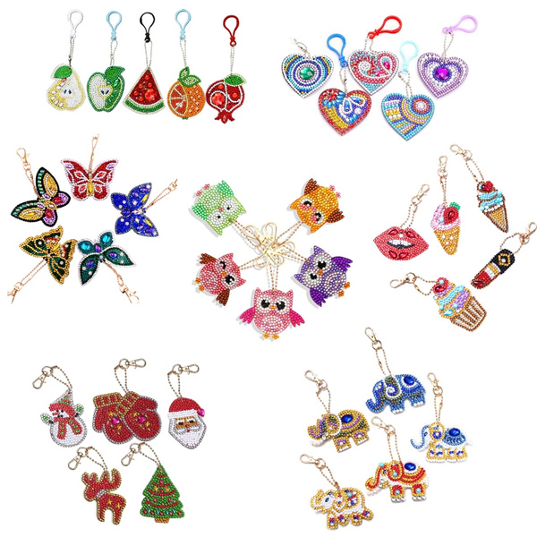 4-5pcs DIY Full Drill Diamond Painting Key Chains Keyring Keychain for Bag Decor
