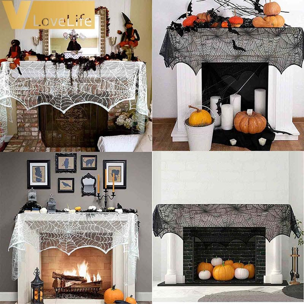 fireplacescarf, mantlescarf, fireplacecloth, black lace