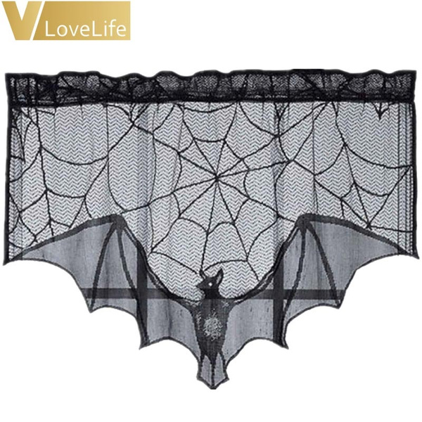 batlacecurtain, Polyester, Bat, Lace