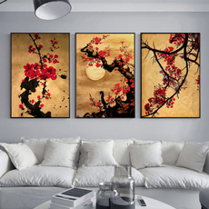walldecorcanvaspainting, Vintage, japanesehomedecor, japanesecherrytree