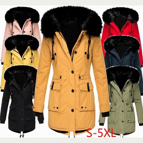 Plus Size, hoodedjacket, Long Sleeve, fur collar