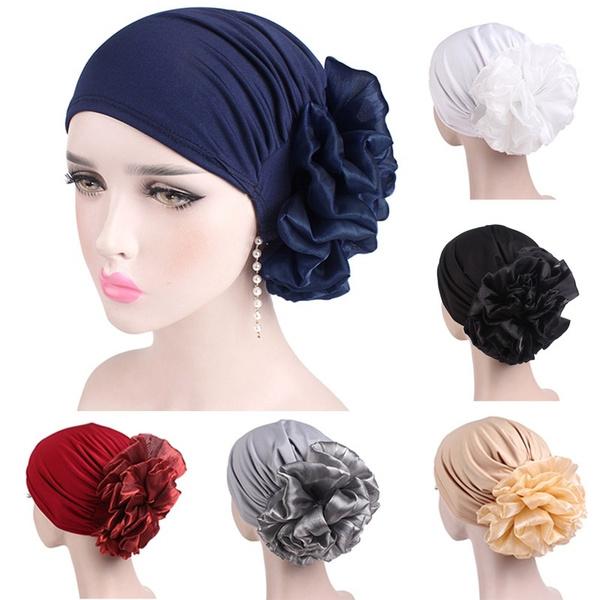 Women Flower MuslimTurban Hijab Cancer Head Scarf  Chemo Hair Loss Hat Headwear//