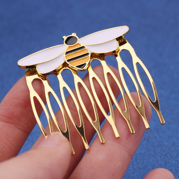 goldhaircomb, hairaccesorie, enamelhairpin, Jewelry