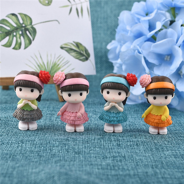 Japanese Girl Figurine Home Miniature Fairy Garden Bonsai Decoration Accessories