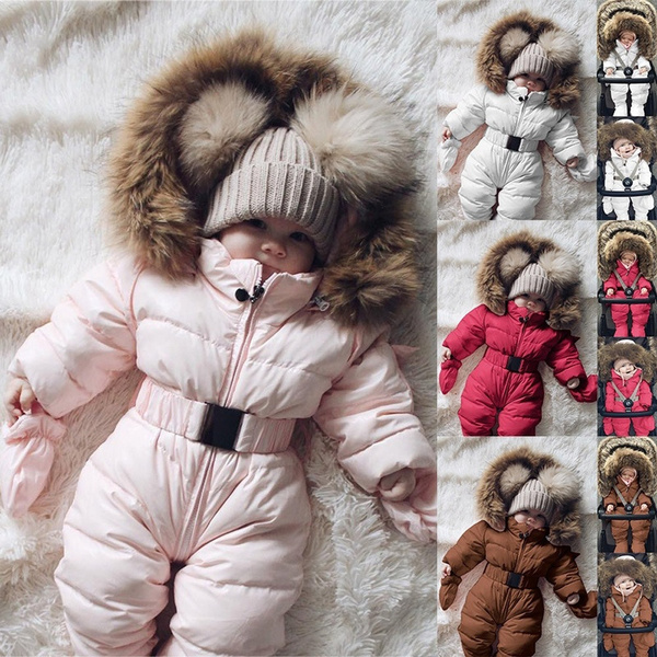 Newborn Infant Baby Girl Boy Winter Thick Warm Coat Knit Outwear Hoodie Jumpsuit