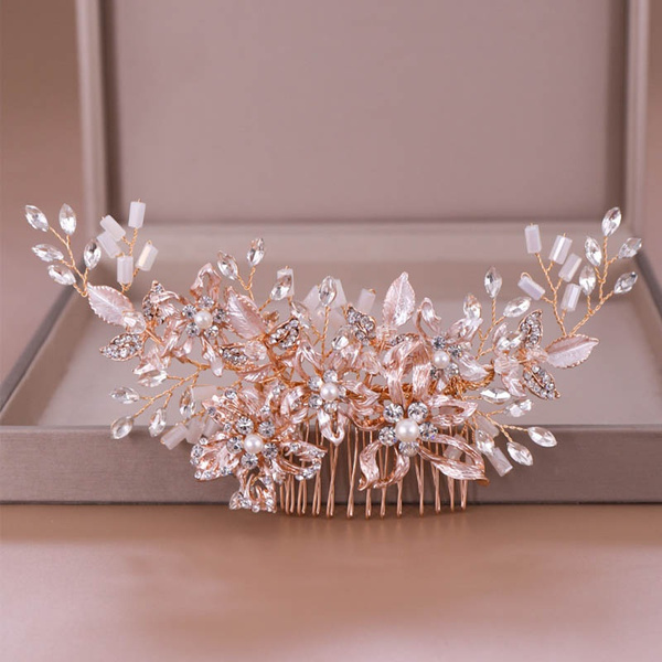 golden, Flowers, hairornament, Crystal