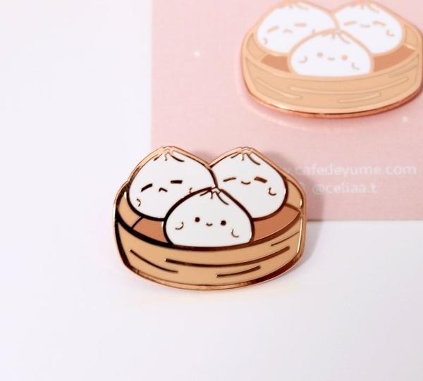cute, brooches, Pins, steamedstuffedbun