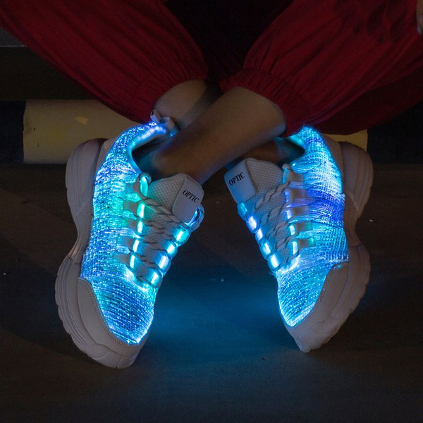 New Led Luminescent Shoes For Kids Women Men With Usb Charging White Sneaker Casual Flashing Shoes Lovers Cool Led Light Up Hip Hop Dance Shoes Wish