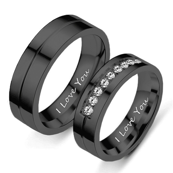 Couple Rings, Steel, Love, goldplated