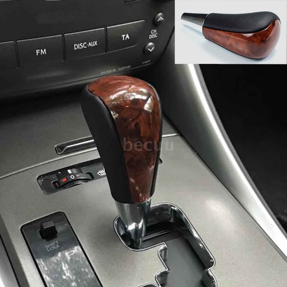 Pursuestar Dark Wood Black Leather Gear Lever Shift Knob for Toyota Land Cruiser Lexus Camry Crown RAV4 Hiace Corolla Mazda Acura Replacement M8x1.25