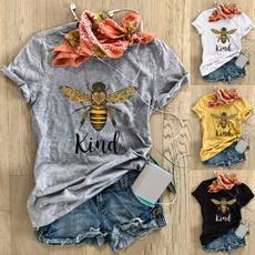 Fashion, beetshir, letter print, short sleeves