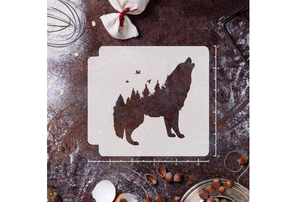 She-wolf Reusable Wolf Mylar Vinyl Stencil DIY Template Wolf-Mother with Rose Laser Cut Stencil Unique Stencil Mother Home Decor