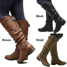 Knee High Boots, Plus Size, leather shoes, long boots