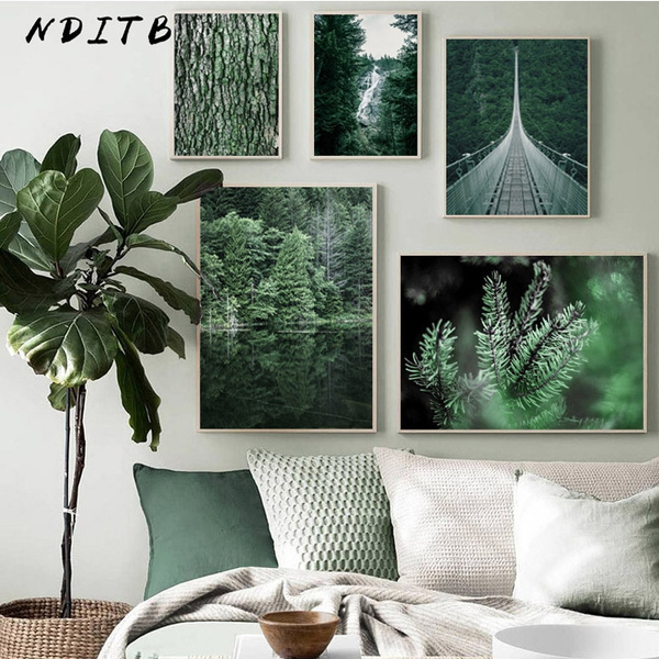 Canvas Picture Prints Bridge Landscape Large Poster Green Forest Waterfall
