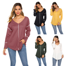 sleeve v-neck, Tops & Tees, Fashion, Women's Casual Tops