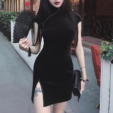 Goth, Chinese, Vintage, Dress