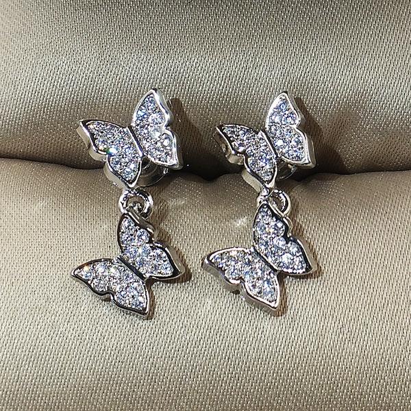 butterfly, Sterling, DIAMOND, butterfly earrings