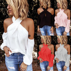 halterblousesforwomen, Fashion, Halter, Long Sleeve