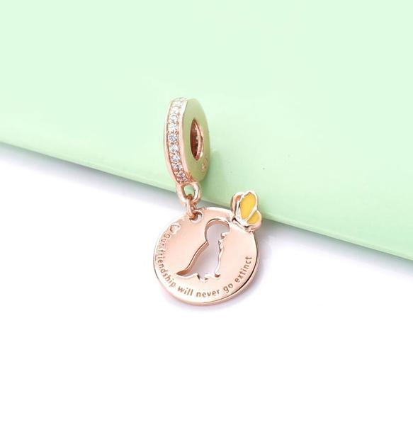 butterfly, Sterling, charms for pandora bracelets, gold