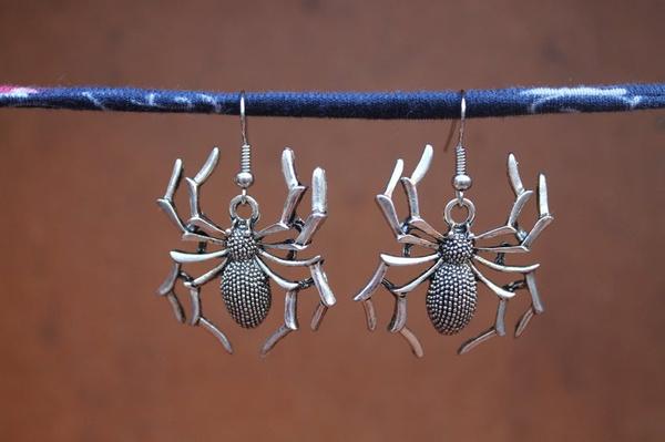 silverspider, halloweenearring, Fashion Accessory, spidercharmspendant