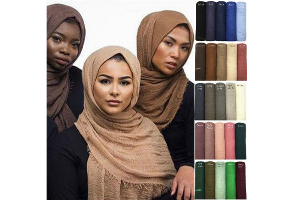2019 Women Plain Bubble Chiffon Scarf Hijab Wrap Printe Solid Color Shawls Headband Muslim Hijabs Scarves Scarf 58 Colors Wish