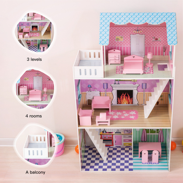 Kids Dollhouse 42 Inch Height 3 Level Wooden Children Open Playhouse W Furniture 4 Rooms For 14 Dolls Wish