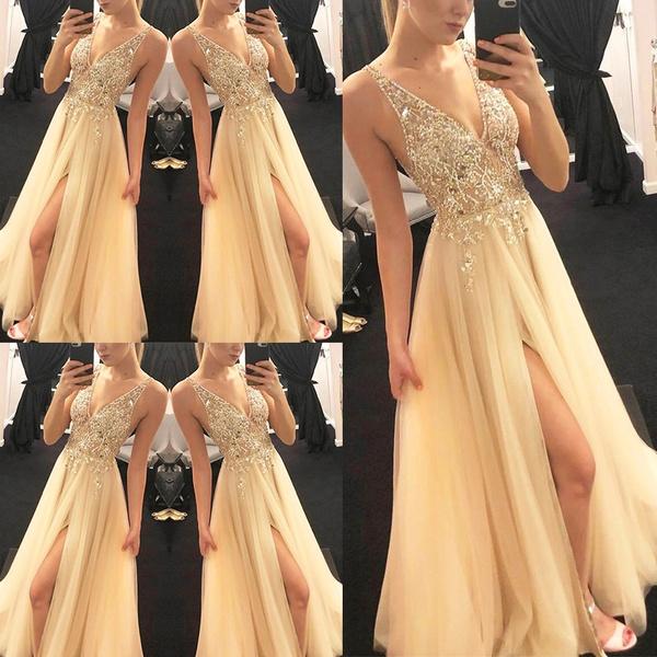 sleeveless, gold, Dress, Wedding