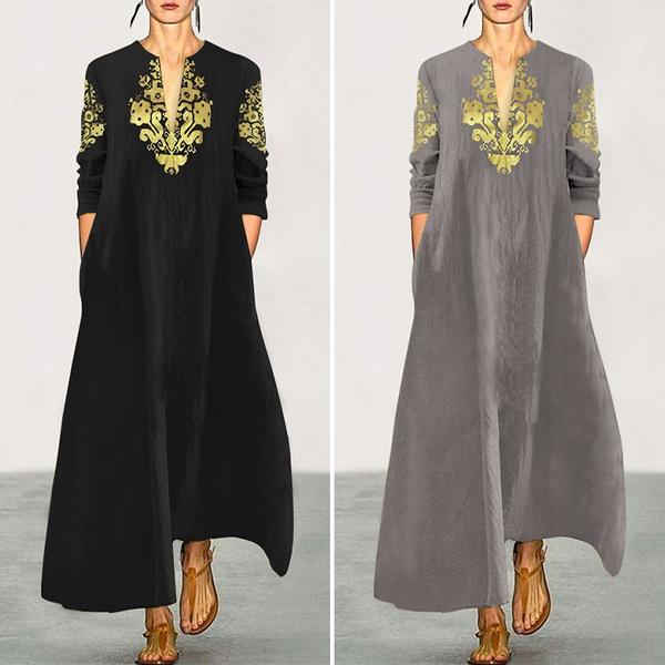 printeddres, women dresses, Long Sleeve, Dress