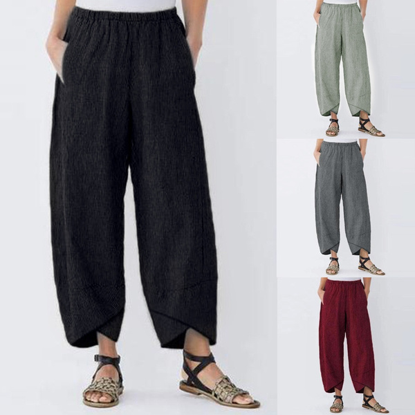 Women Pants, elastic waist, wideleg, high waist