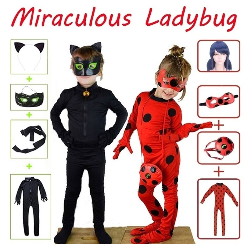 JCHEGN Costume for Girls Halloween Party Fancy Jumpsuit Dark Blue Long Wavy Cosplay Wigs for Kids Included