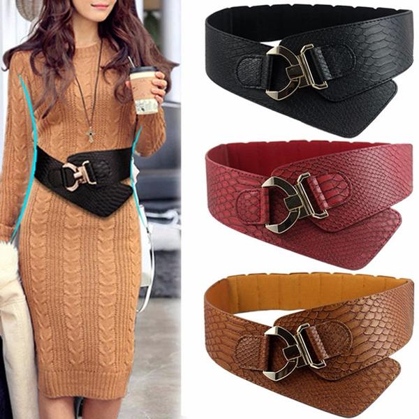wide belt, Fashion, gold, metalbuckle