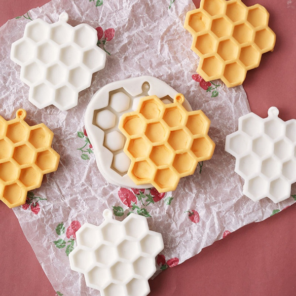Silicone Fondant Decor Cakes Chocolate Molds Tools Bees Honeycomb Textured Molds