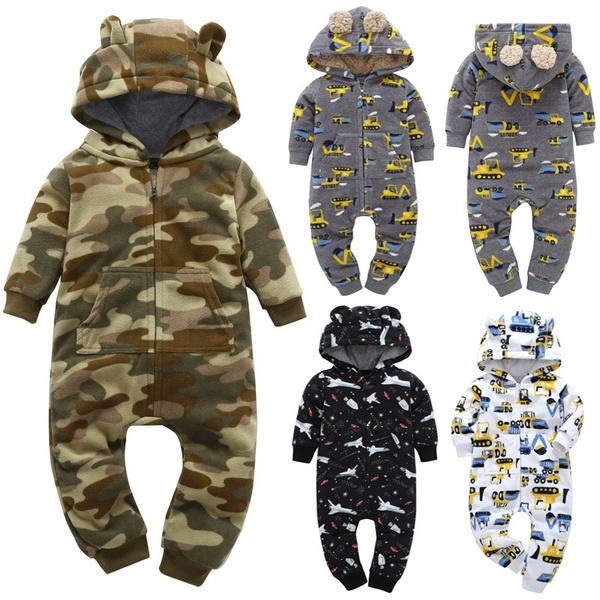 hooded, babyromper, Long sleeved, babyjumpsuit