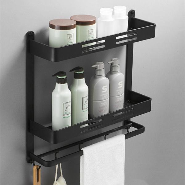 Black Bathroom Shelf Shower Caddy Wall Mounted Kitchen Bath Rack With Bar Hook Space Aluminum Shelves Organizer Storage Etagere Wish
