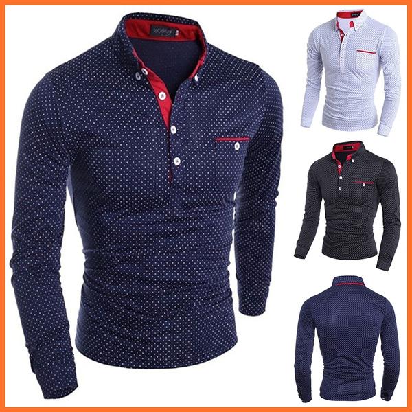 slim, Polo Shirts, Sleeve, Long Sleeve