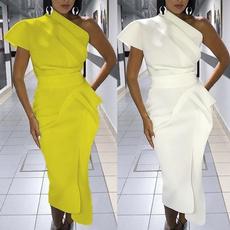 slim dress, Club Dress, short sleeve dress, one shoulder dress