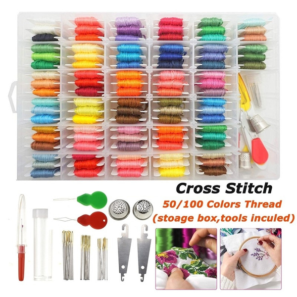 64 Grids Fixm 100 Colors Embroidery Kit Friendship Bracelet String with 30 Floss Bobbins 1 Sticker Embroidery Floss Cross Stitch Threads Friendship Bracelet Tassels and Craft for Cross Stitch