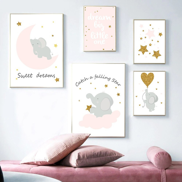 Cartoon Pink Elephant Canvas Painting On The Wall Blinking Stars Wall Art Pictures For Baby Girl Room Decor Quotes Nursery Posters No Frame Wish