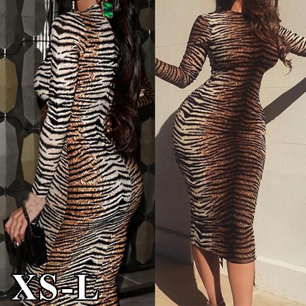 pencil, pencil skirt, Long Sleeve, leopard print