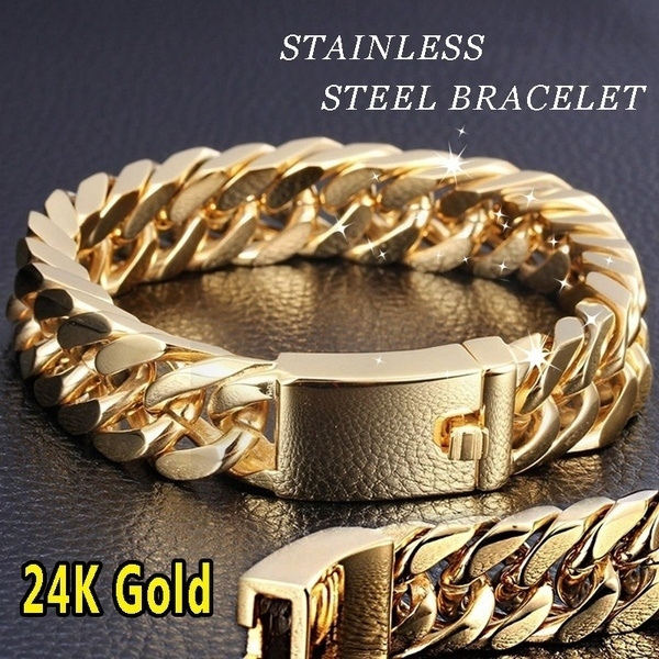 Heavy, goldplated, 24kbracelet, Fashion