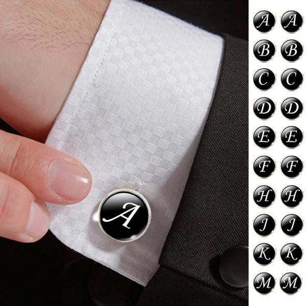 Men Cufflinks, Jewelry, Cuff Links, alphabet