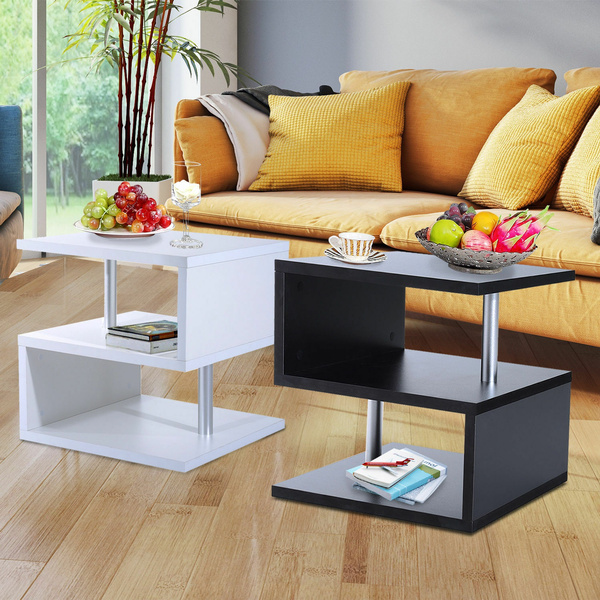 2 Tier Side End Coffee Table Storage Shelves Sofa Couch Living Room Furniture Wish - Side Table With Storage Shelves