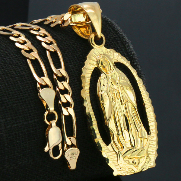 virginmarynecklace, goldplated, Fashion Accessory, hip hop jewelry