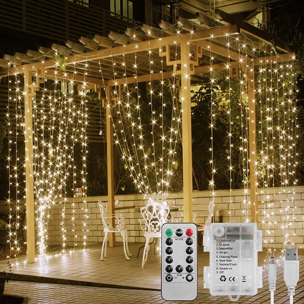 3x3m 300 Led 8 Modes Usb Or Battery Powered Fairy Curtain Lights Timer Indoor Outdoor String Lights For Gazebo Wedding Bedroom Party Decor Wish