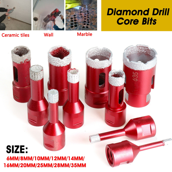 Diamond Drill Core Bit Drilling Hole Saw Tools Tile Marble Granite Stone Red