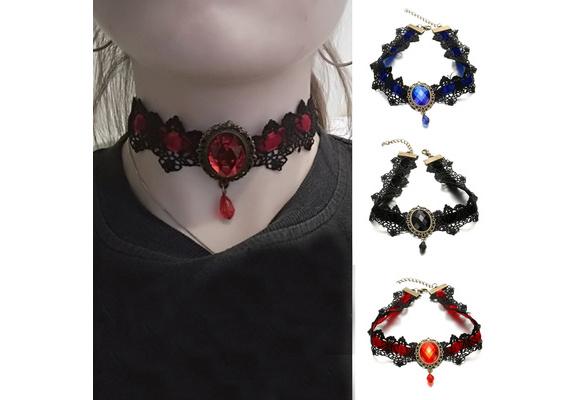 7Colors Women Bohemia Lace Tattoo Choker Vintage Big Crystal Velvet Necklace