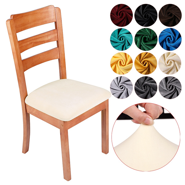 1 4 6 Pcs Soft Velvet Dining Room Chair, Dining Room Seat Covers With Ties